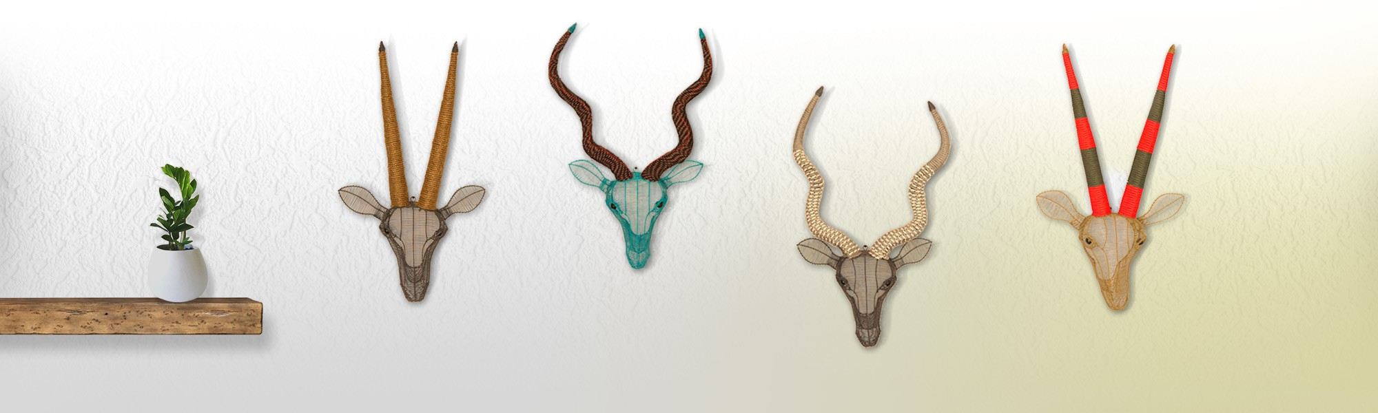 African in Colour Rope Trophy Heads