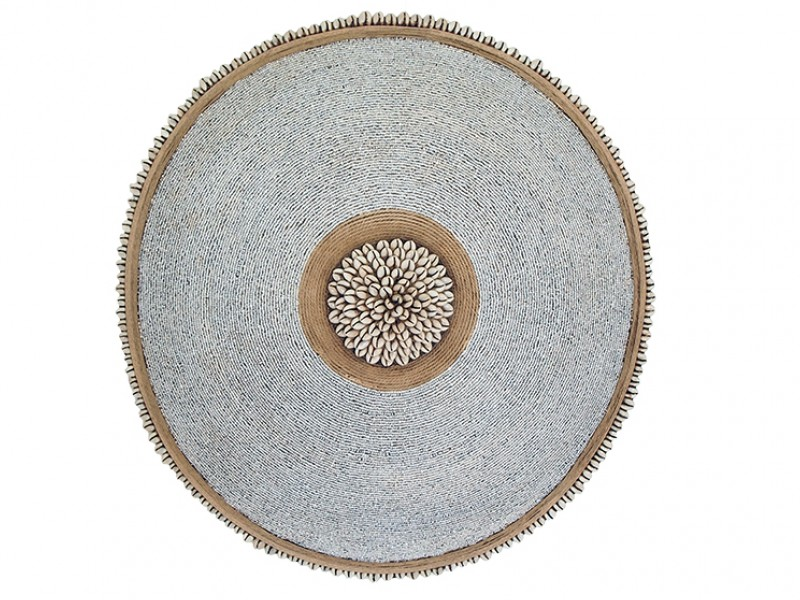 Beaded Shield - White with Manilla and Cowrie Center and Trim