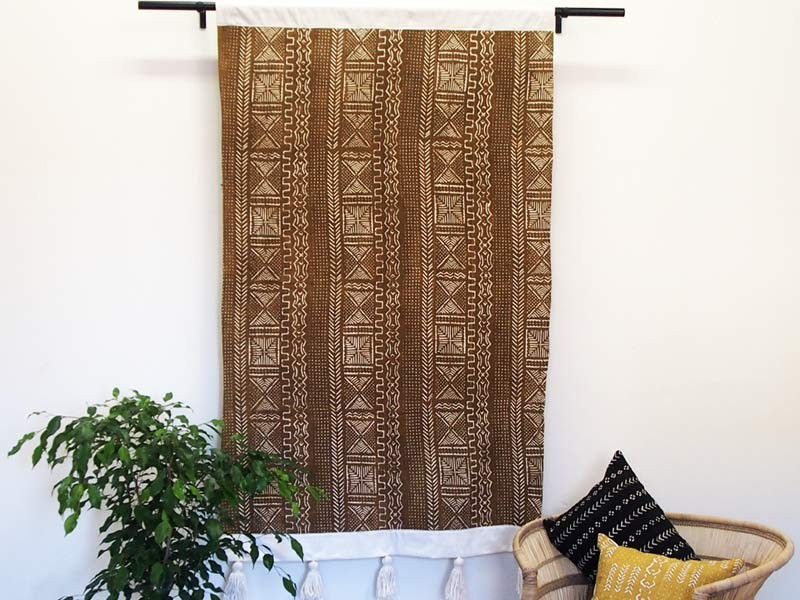 African Creative Olive Mudcloth Wall Hanging